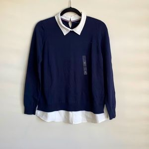 Tommy Hilfiger Sweater with Collared Shirt.